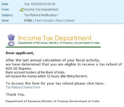 Beware: Income Tax Refund, Lottery Mails etc 1